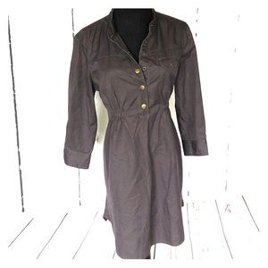 Military style shirt dress w button front top